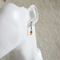 Simple small glass bead earrings (Skyblue Red Green , Boho Antique Retro Cute )