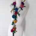 Silk flower necklace, Recycled silk rose garland, hand crocheted, boho