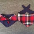 Tartan Dog Neckerchief! Red tartan neck tie, neck wear for puppers and doggos, t
