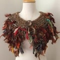 Natural browns, scarf, capelet, mini wrap, Hand Spun, Hand Knit, collar