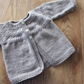 Soft Latte Cardigan -  Size 3-6 months Hand knitted in pure wool.
