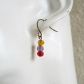 Simple small glass bead earrings (Brown Purple Red , Vintage Art deco Bohemian )