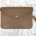 Monogrammed Envelope Clutch in Mocha Brown with detachable straps