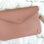 Monogrammed Envelope Clutch in Dusty Pink with detachable straps