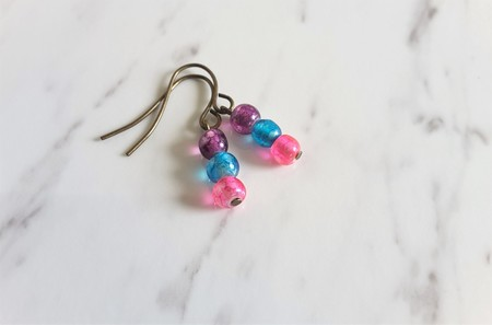 Water color small glass bead earrings (Purple Skyblue Pink , Artsy Funky Cute )