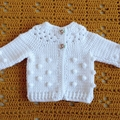 White Hand Crocheted Baby Bobble Cardigan Jacket & Beanie 0-2 months