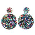 Big Glitter Colourful Earrings • Acrylic Statement Earrings • Glitter Jewellery