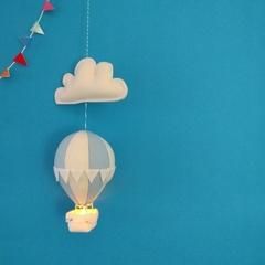 Small Nightlight Hot Air Balloon Mobile Pale Blue/Cream
