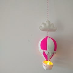 Small Nightlight Hot Air Balloon Mobile Pink/White