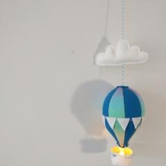Large Nightlight Hot Air Balloon Mobile Blue/Rainbow