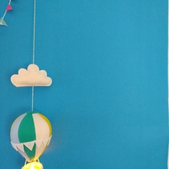 Large Nightlight Hot Air Balloon Mobile Teal / Yellow / Pale Blue /Cream