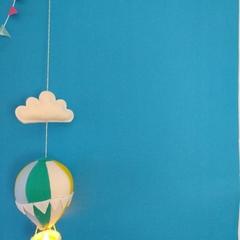Large Nightlight Hot Air Balloon MobileTeal / Yellow / Pale Blue /Cream