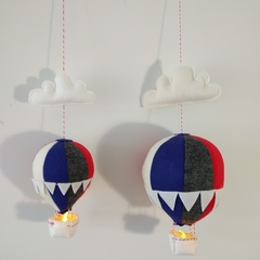 Large Nightlight Hot Air Balloon Mobile Navy/Red/White/Charcoal