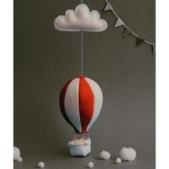 Small Nightlight Hot Air Balloon Mobile  Red/Cream