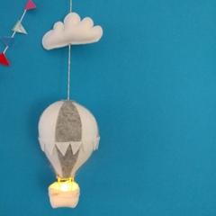 Small Nightlight Hot Air Balloon Mobile Grey/ White