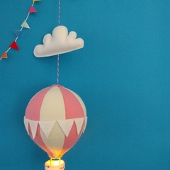 Large Nightlight Hot Air Balloon Mobile Pale Pink / Cream