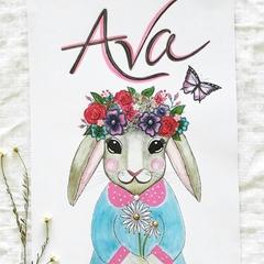 Personalised Girlie Rabbit Nursery Print: Unframed