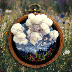 Cloud and Meadow Hand Embroidered Art in Hoop