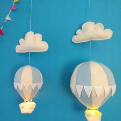 Large Nightlight Hot Air Balloon Mobile Pale Blue/Cream