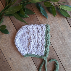 Crochet Baby Bonnet Merino Size 1-3