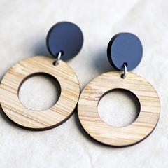 Matte Black Bamboo Hoop • Stud Hoops • Natural Wood Hoop Earrings