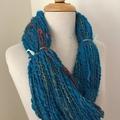 Teal blue, Handspun yarn, fine Australian merino silk, 123 grams 138 yards