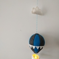 Small Nightlight Hot Air Balloon Mobile Charcoal/Blue