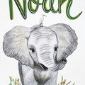 Personalised Elephant Nursery Print: Framed