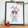 Personalised Girlie Rabbit Flower Nursery Print: Framed
