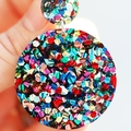 Big Glitter Colourful Earrings • Acrylic Statement Earrings • Glitter Jewellery
