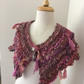 Pinks Capelet, mini wrap, Hand Spun, Hand Knit, Scarf, collar