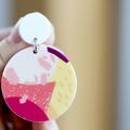 Big Earrings ✩ Colourful Peach Statement Earrings ✩ Surgical Steel Stud Dangles