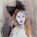 Alice in wonderland fashion painting acrylic mixed media  print