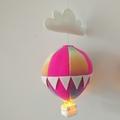 Large Nightlight Hot Air Balloon Mobile Pink/Rainbow