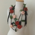 Silk flower necklace, Recycled silk rose garland, hand crocheted, boho