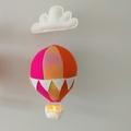 Large Nightlight Hot Air Balloon Mobile Orange Rainbow/Pink