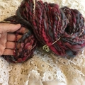 Burgundy Grey Handspun yarn fine merino silk 136 grams 110 yards
