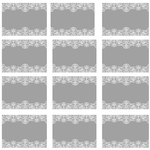 12 x24mm Grey and White Lace Rectangle stickers