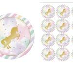 Edible Gold Unicorn Rice Paper Cake/Cupcake Pack