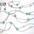 Amazonite and  Rose Quartz cube beads on silk necklace