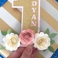 One Year Old Caketopper, Floral Caketopper, Boho-Theme Caketopper