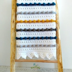 Chunky Mustard, Grey, Teal & White  Newborn Hand Crocheted Bobble Baby Blanket