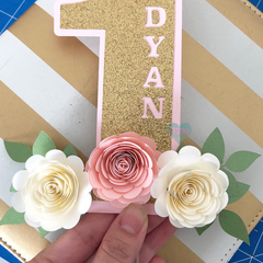 One Year Old Caketopper, Floral Caketopper, Boho-Theme Caketopper