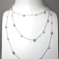 Amazonite and  Rose Quartz cube beads on silk necklace