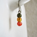Water color small glass bead earrings ( Green Yellow Red , Boho Cute Tropical )
