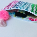 Colourful clutch with pompom tassel.  A gorgeous handmade gift for a friend.