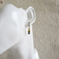 Water color small glass bead earrings ( Yellow Green Black , Woodland Hippie )