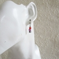 Water color small glass bead earrings ( Red Black Purple , Art deco Gothic Cool)