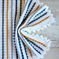 Mustard, Grey, Teal & White  Newborn Hand Crocheted Bobble Baby Blanket