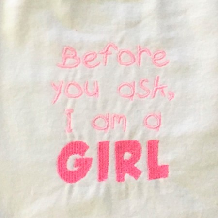 Before you ask I am a girl embroidered bib